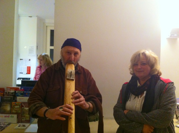 Volunteer feature editor Chris with Tony Morris flute player